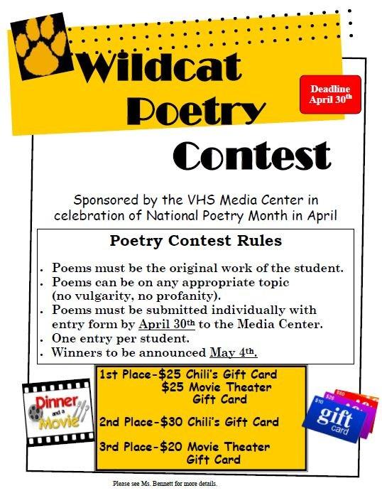 Wildcat Poetry Contest Flyer 2018
