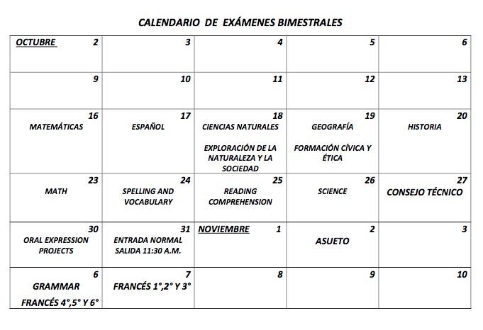 CALENDARIO DE EXÁMENES PRIMER BLOQUE Featured Photo