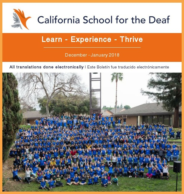 CalNews cover - California School for the Deaf, Learn Experience Thrive, All Spanish translations done electronically