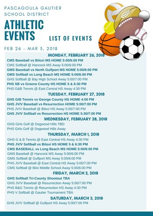 Athletic Events for Week of February 26, 2018