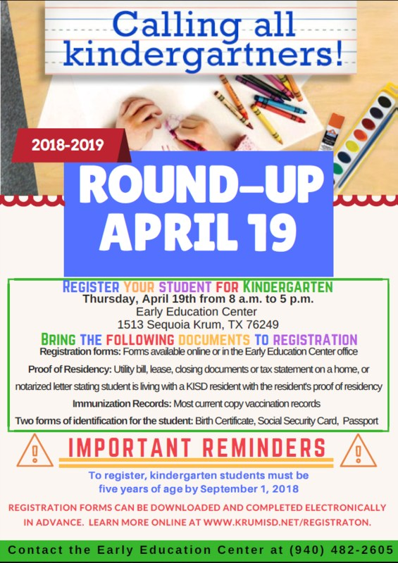 Kindergarten Round-Up April 19th Thumbnail Image