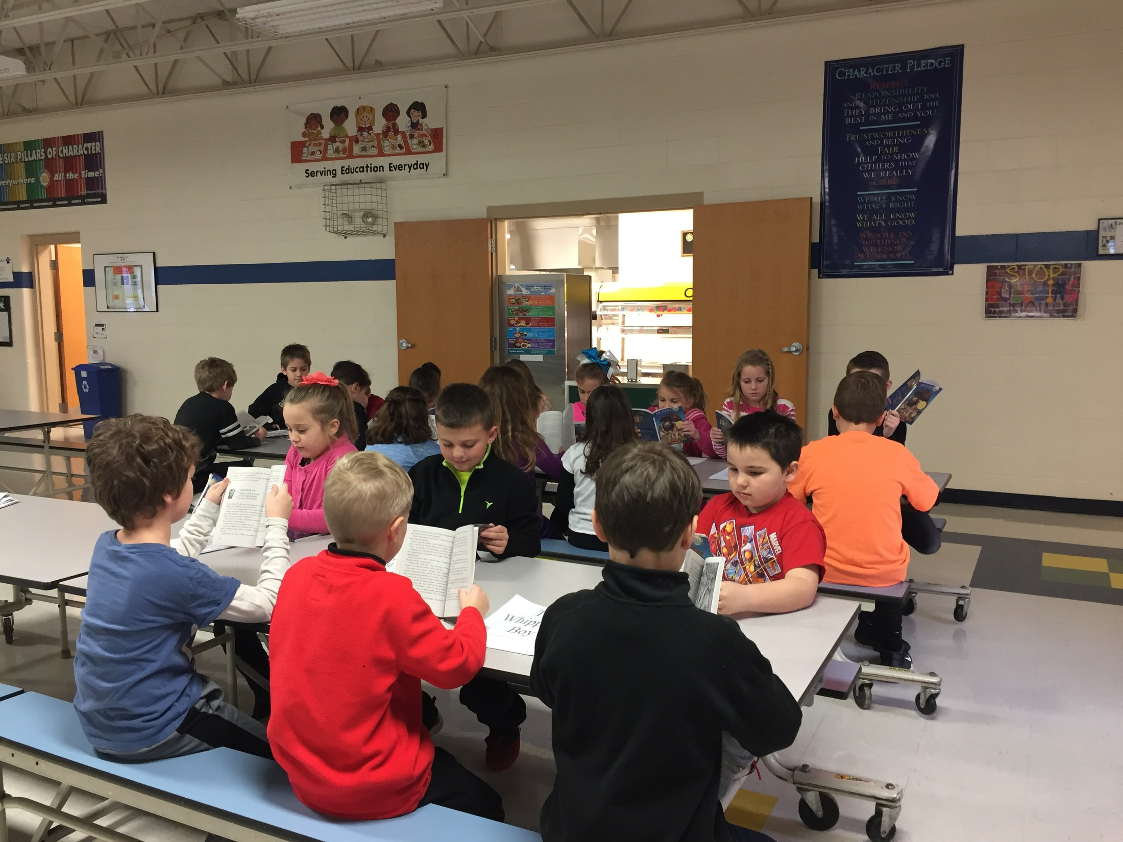 Crosby Elementary RtI groups having class in the Cafeteria