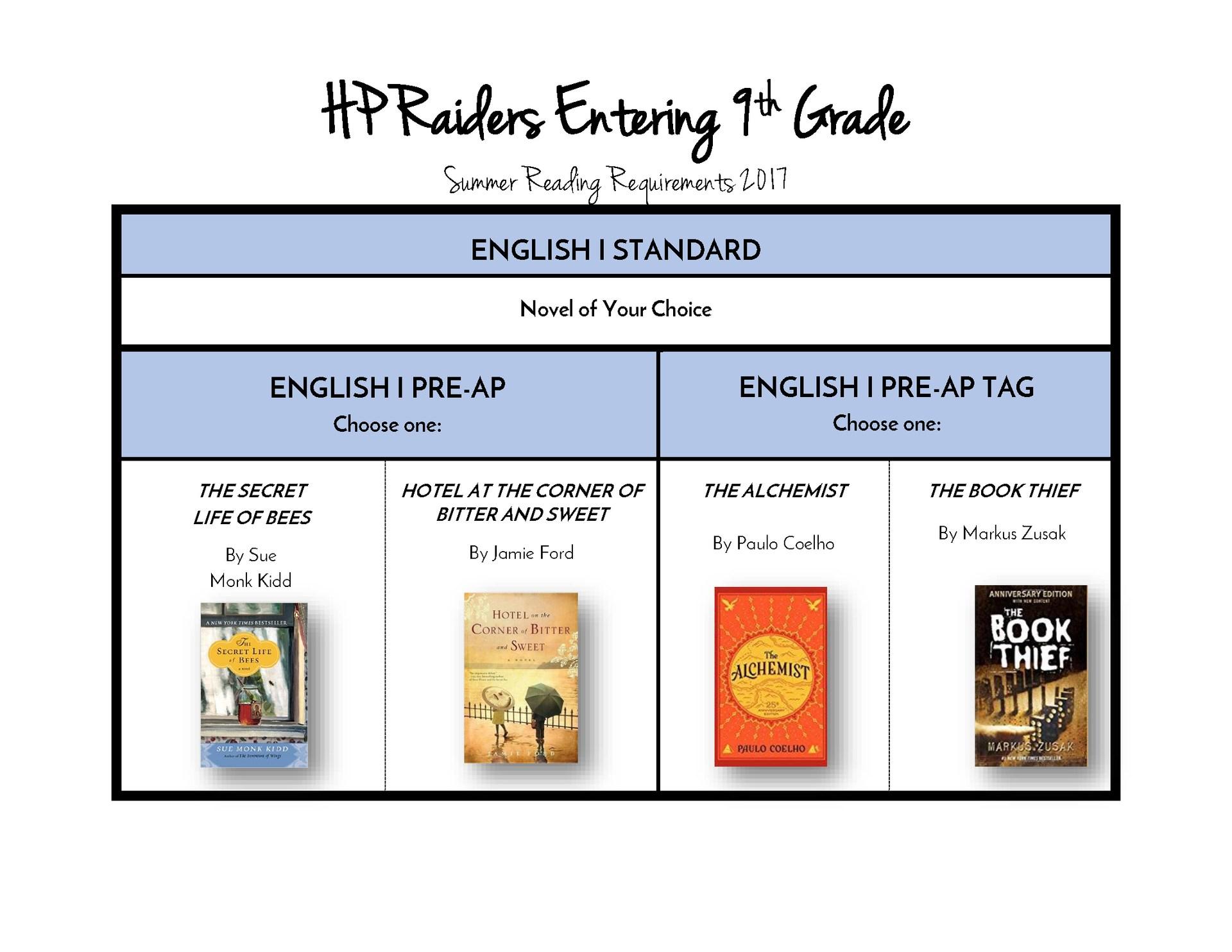 Entering 9th Grade Summer Reading