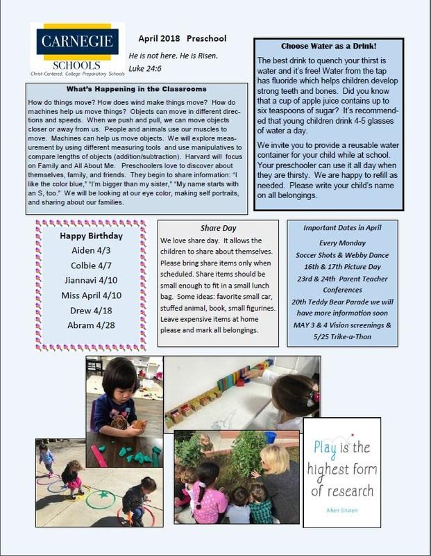 Preschool April Newsletter Featured Photo