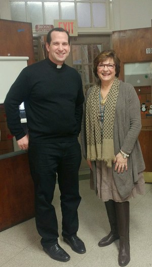 Fr. Bryan with Mrs. Stefanelli