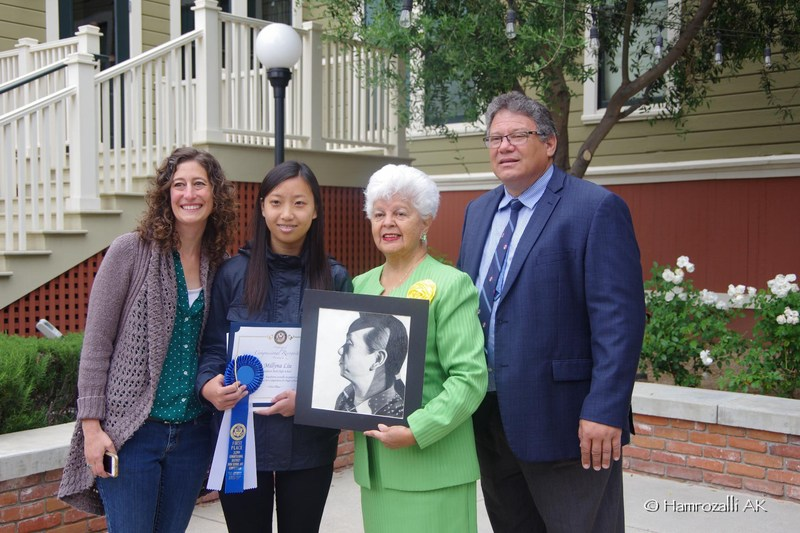 Baldwin Park High School junior Millyna Liu, the winner of the 32nd District's 2017 Congressional Art Contest, stands with teacher LeAnn Blume, far left, U.S. Rep. Grace F. Napolitano and Principal Anthony Ippolito.