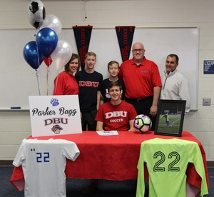 Parker Bagg signs to play soccer at Dallas Baptist University.