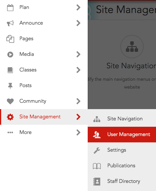 Select User Management from the Site Management menu