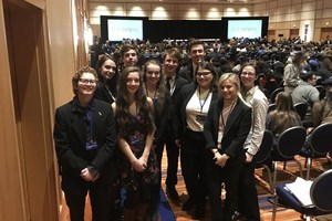 A group of OLSH students at the Johns Hopkins Model UN competition.