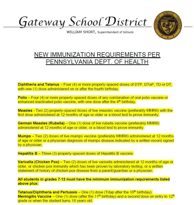 NEW IMMUNIZATION REQUIREMENTS PER PA DEPARTMENT OF HEALTH Thumbnail Image