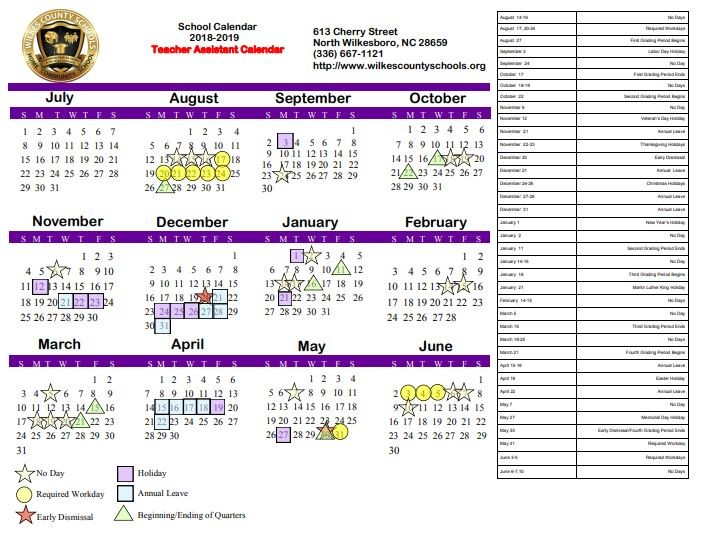 2018-19 WECHS Board-Approved Academic Calendar