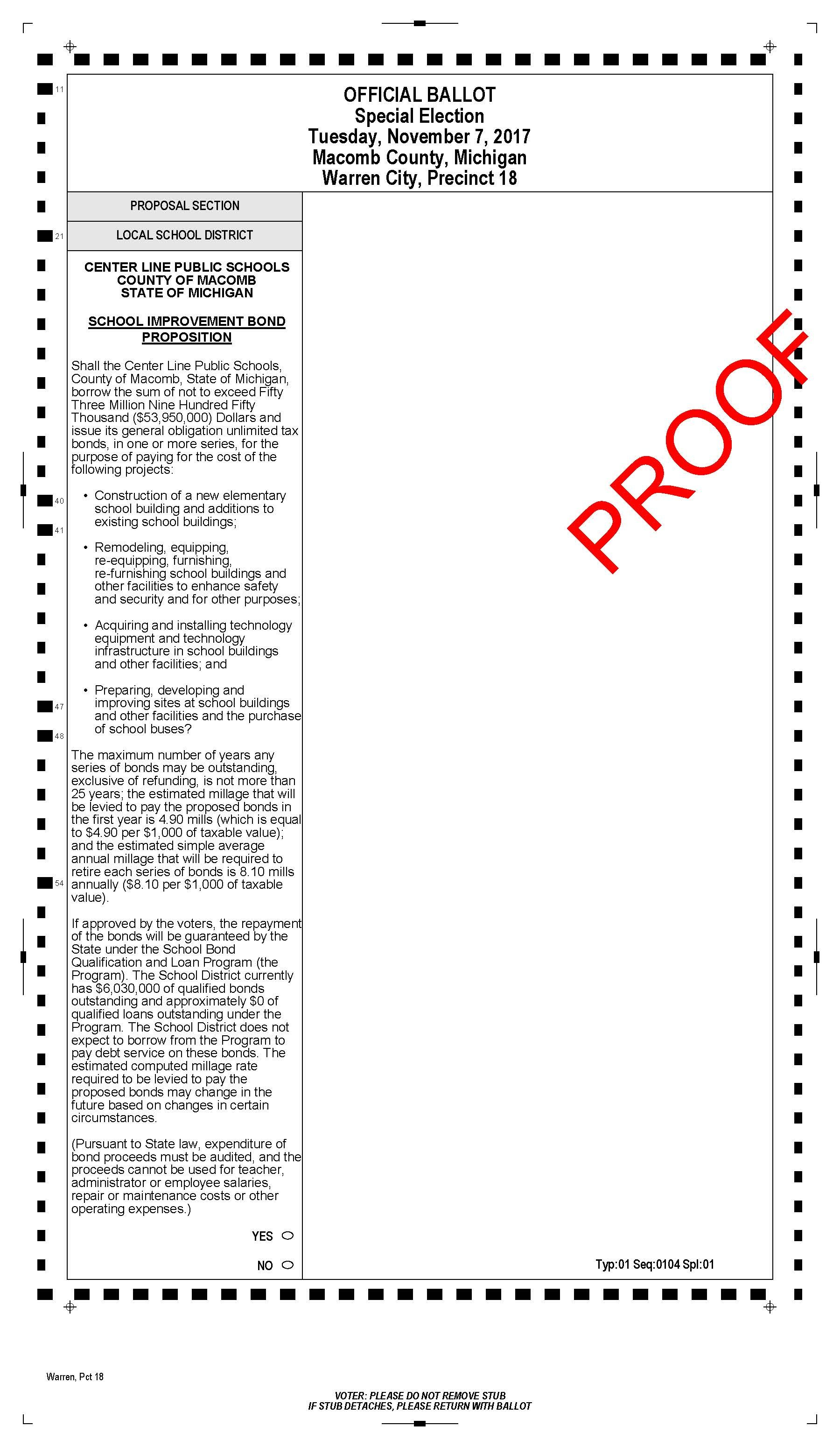 Center Line Public Schools Ballot language