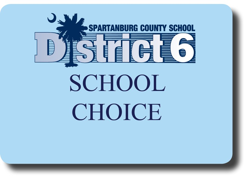 A blue box with the words school choice on it, along with the District Six logo.