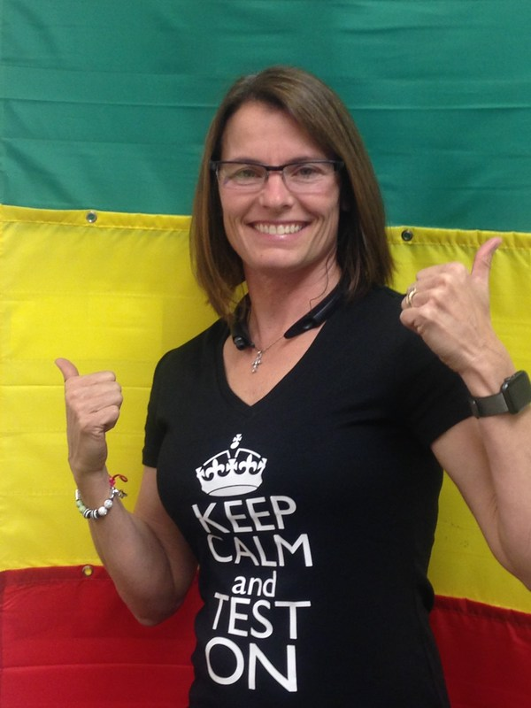 Dr. Winn in Keep Calm and Test on shirt