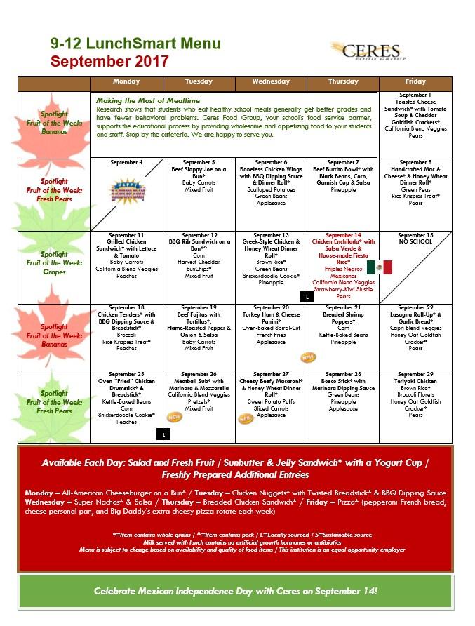 9 -12 Lunch Menu for September