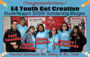 MHS students Luis Castillo, Leyla Estrada, Kiana Horton, and Jessica Landaverde with Teacher Shannon Park.