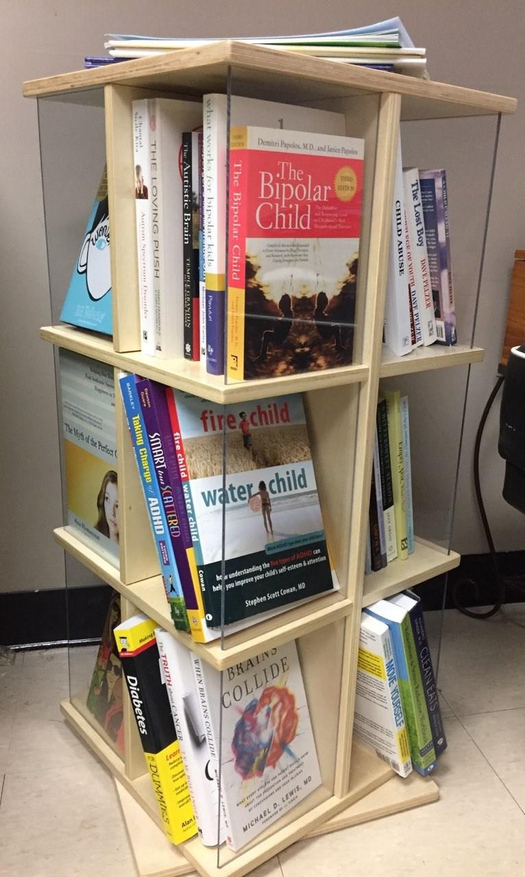 books on rotating shelf