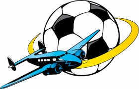 Soccer Ball With A Yellow Ring Around and a Blue Jet airplane
