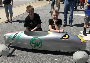 Kendall and Alea with their Gravity Car