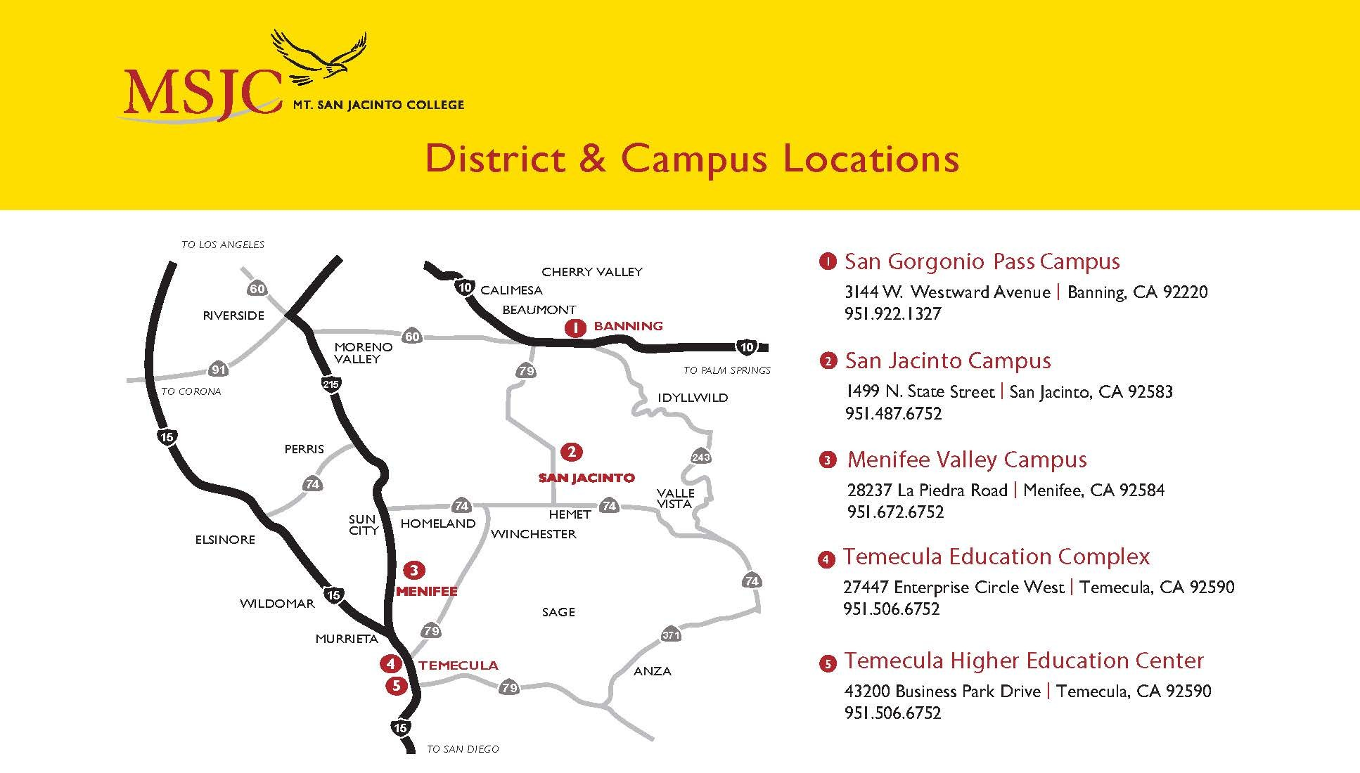 Map of Mt. San Jacinto College campuses