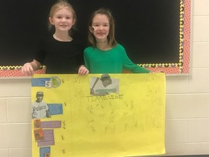 Mrs. Whitley's second grade class recently studied the life and contributions of Jackie Robinson. Students worked with partners and used their Studies Weekly articles to create a timeline of important events in his life.
