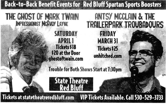 Benefit Events for Sports Boosters at State Theatre 3/31 and 4/1.  Go to www.redbluffstatetheatre.com for tickets and event information.