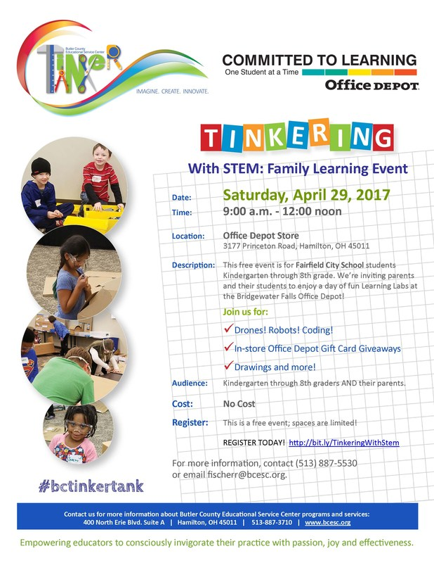 Image of  the Tinker with STEM flyer advertising an event on April 29