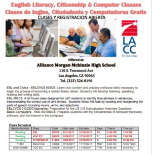 Fall 2017 adult class schedule