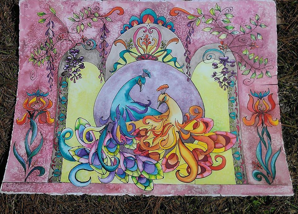 Watercolor in Art Nouveau style