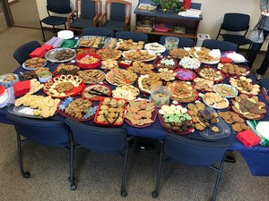 table full of cookies in the staff lounge