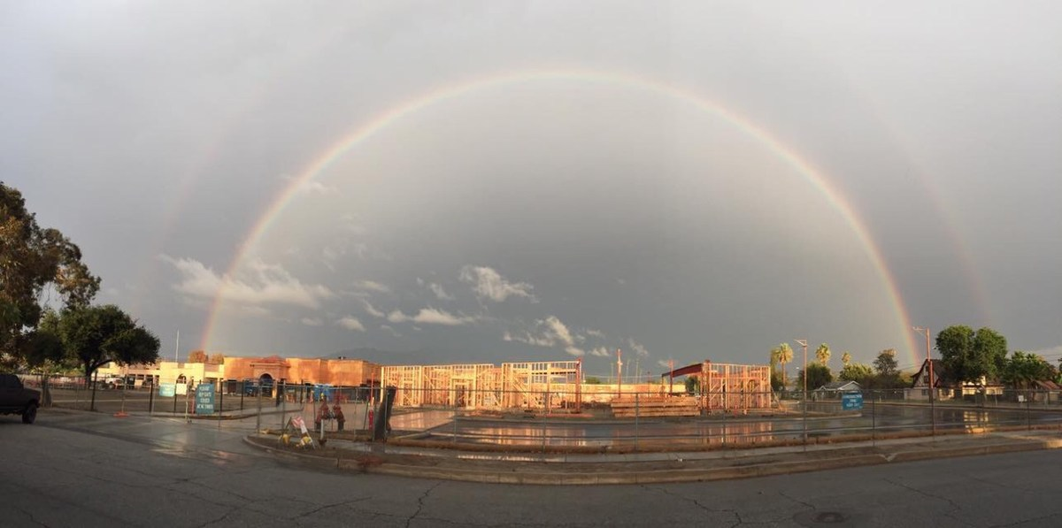 Rainbow over Hemet Elementary Construction site