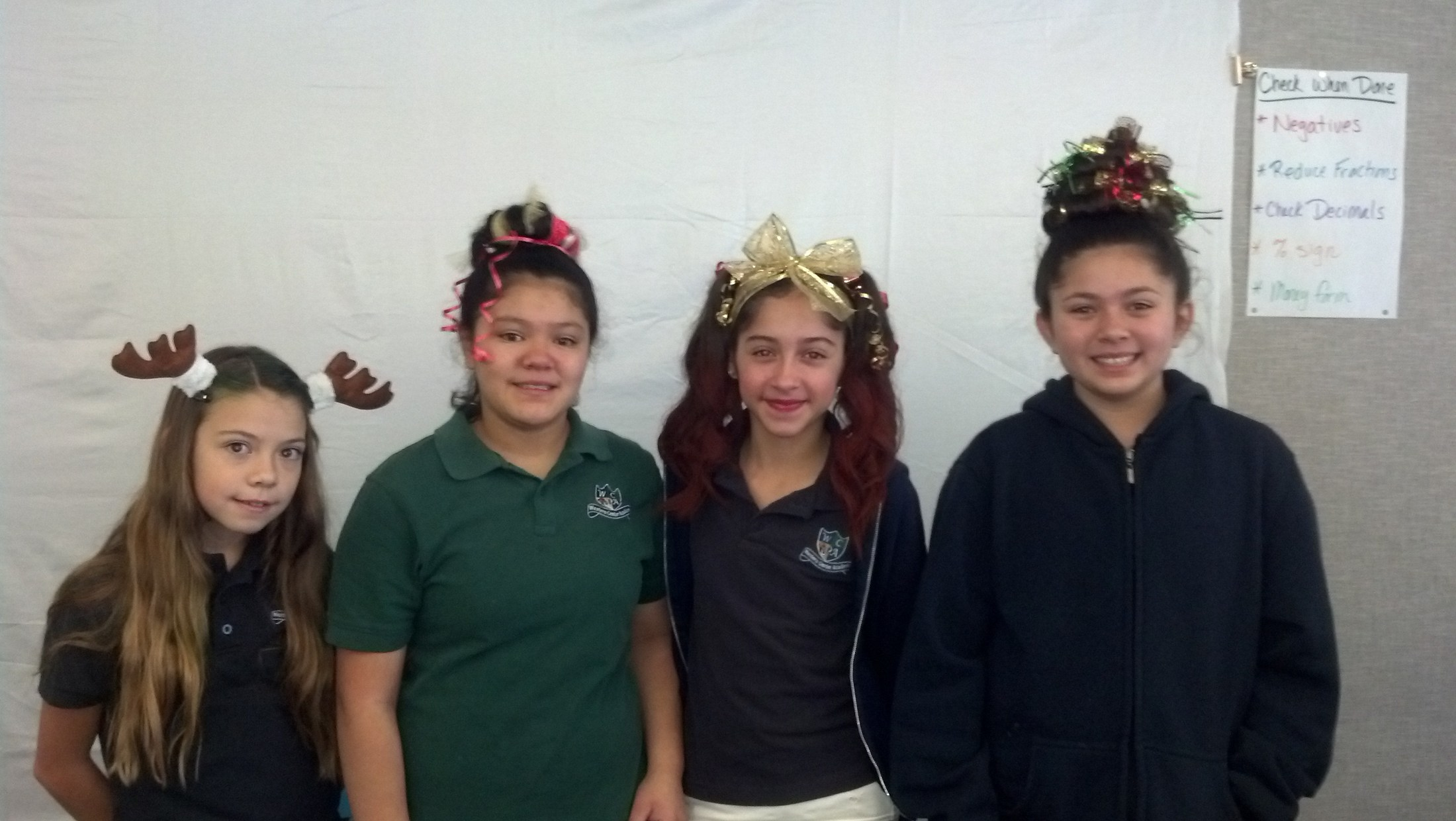 Students celebrating spirit week with crazy hair styles
