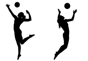 A silhouette graphic of two female volleyball players.