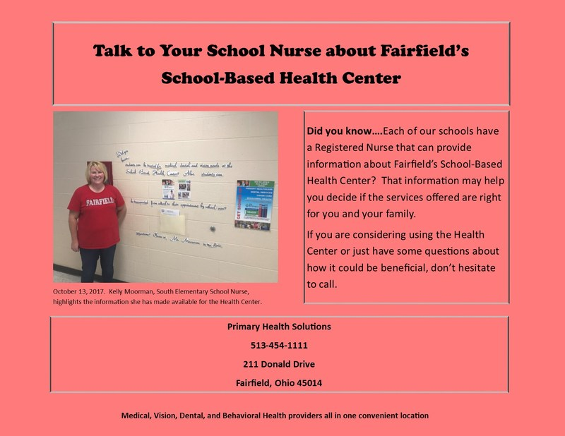 Image of the Friday Fact relating to the School-Based health Center. This particular fact shares info about how our school nurses are a good resource for providing information about the district's health center.