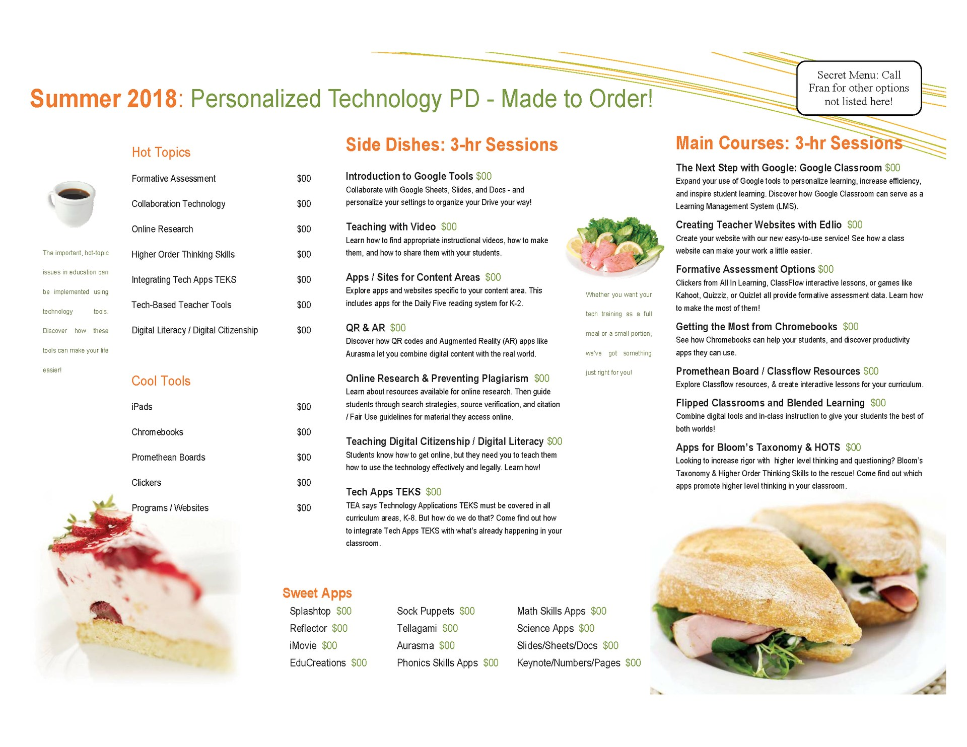 menu of PD sessions offered
