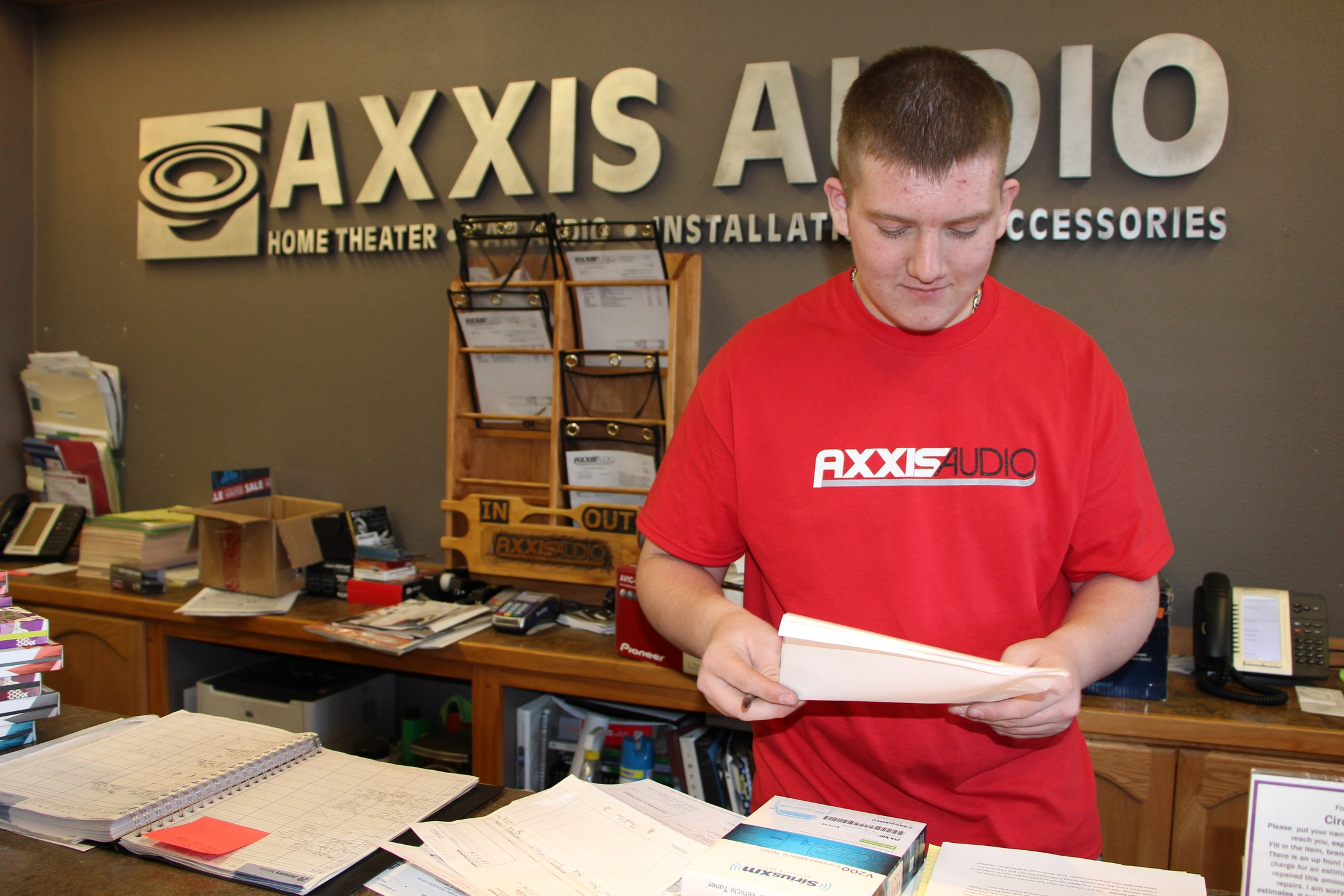 Student at their internship with AXXIS.