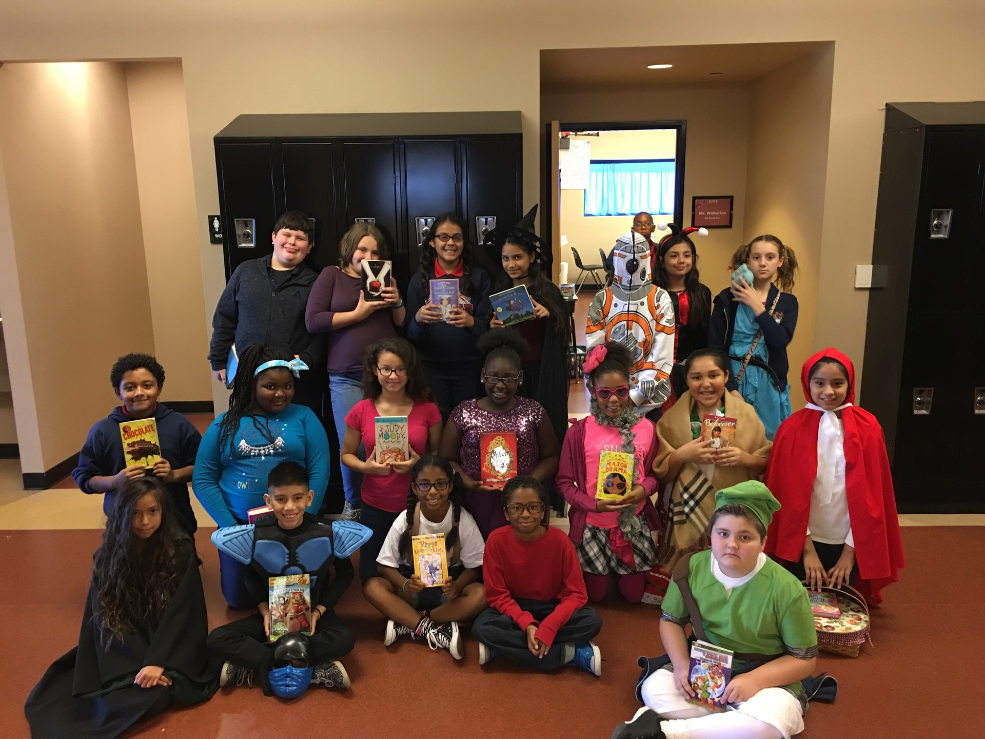 Picture of students who participated in Book Character Day