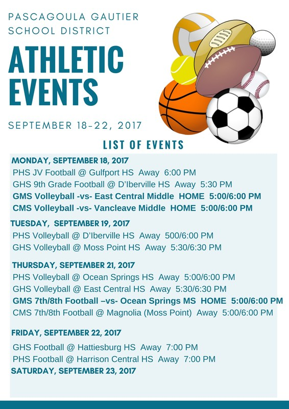 Athletic Events for Week of Sept. 18 - 23, 2017