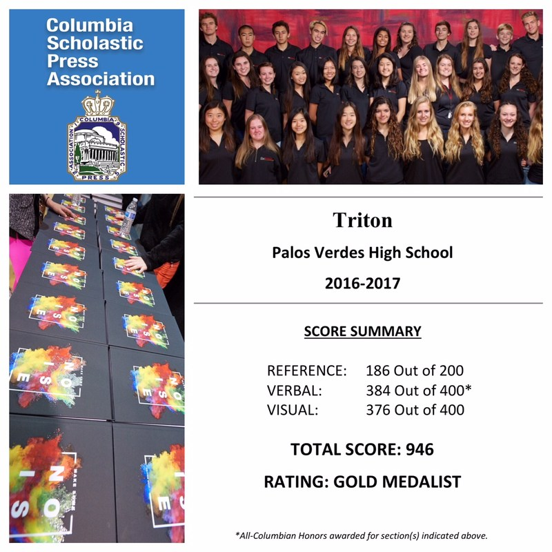 TRITON YEARBOOK GARNERS ALL COLUMBIAN HONORS & GOLD MEDALIST AWARD