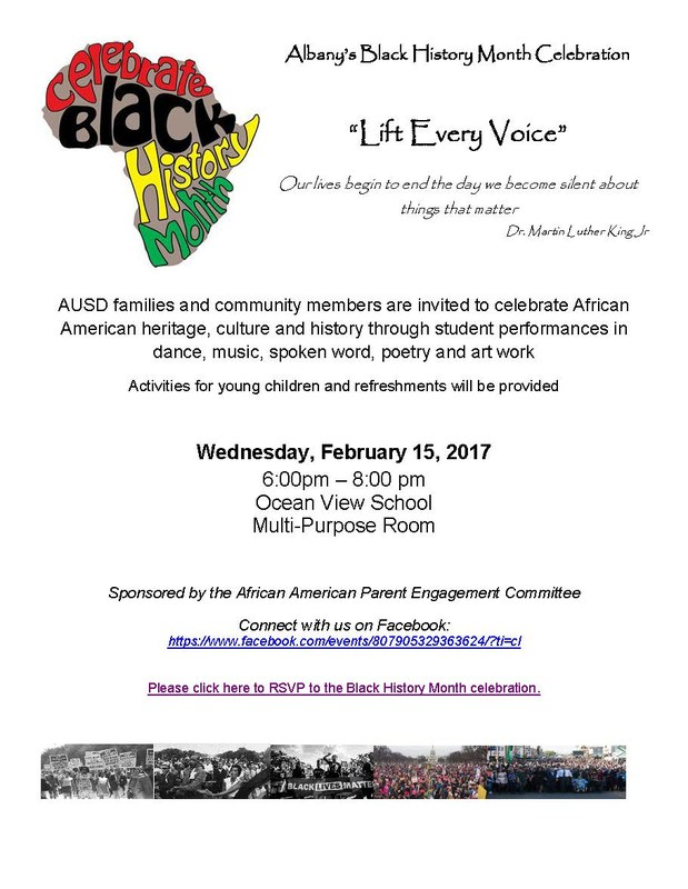 AUSD CELEBRATES BLACK HISTORY MONTH ON 2/15/17 AT 6:00 P.M. AT OCEAN VIEW (click for more info)
