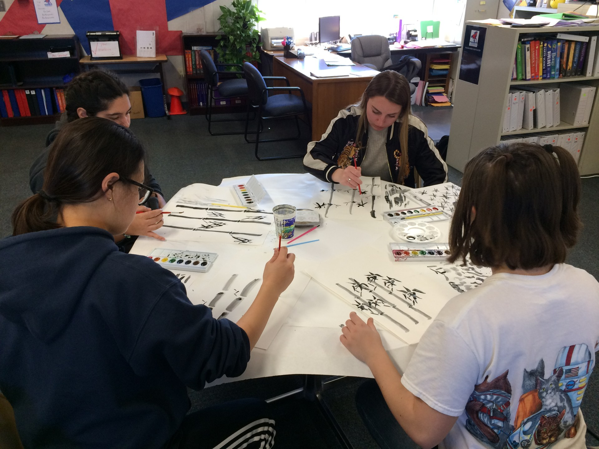 Students working on art project.