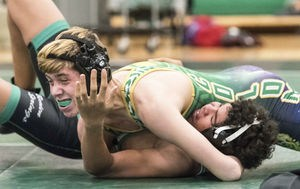Coloma's Ian Ishmael, top, wrestles at 135 pounds against Berrien Spring's Juan Ibarra