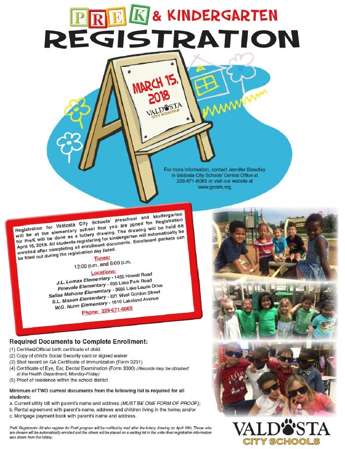 PreK and K Registration Flyer