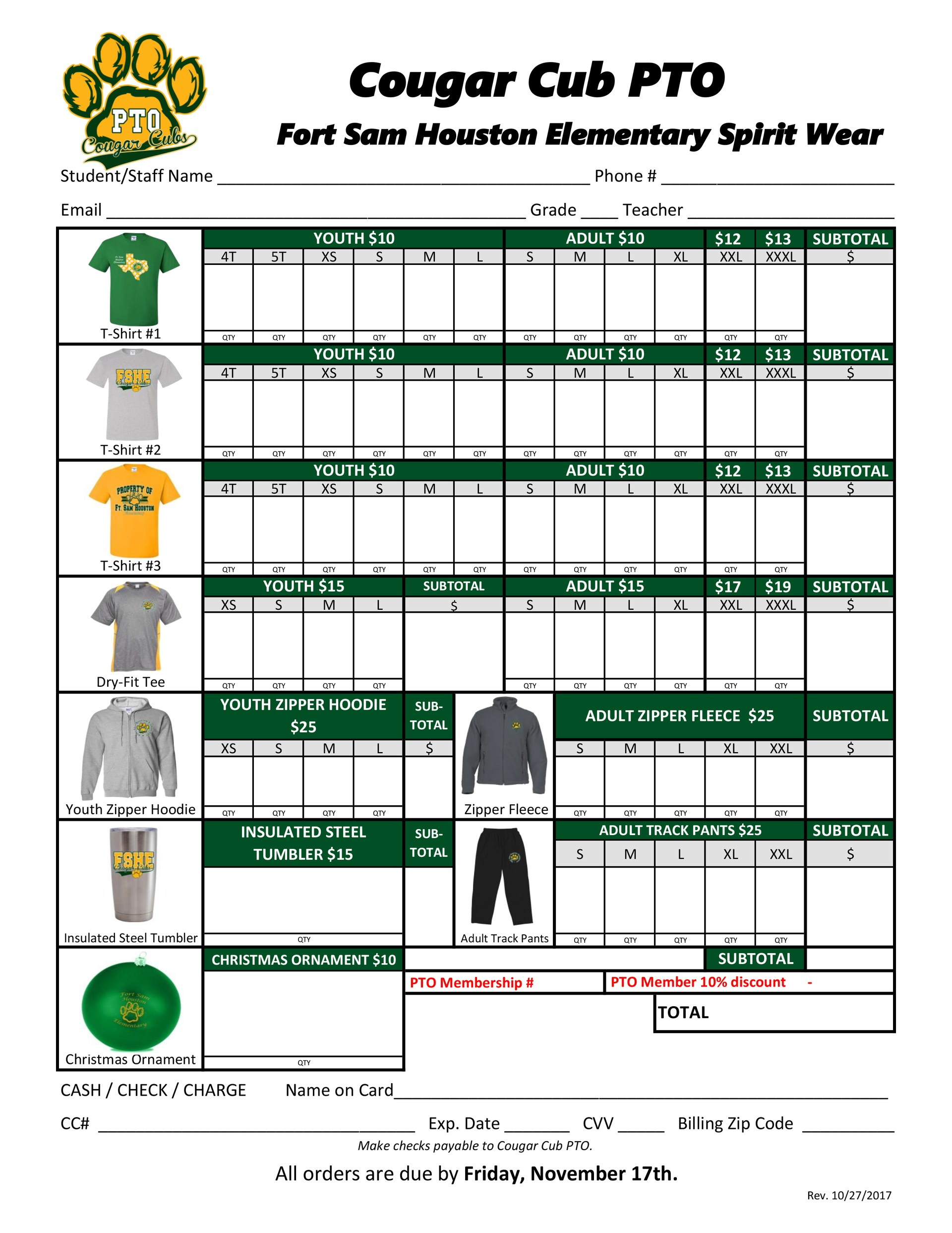 Winter Spirit Wear Order Form