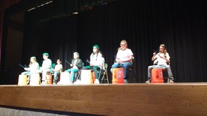 Cannan Students practicing bucket drumming for the Talent Show