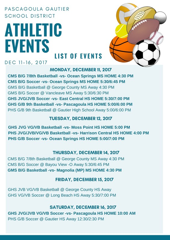 Athletic Events for Week of December 11, 2017