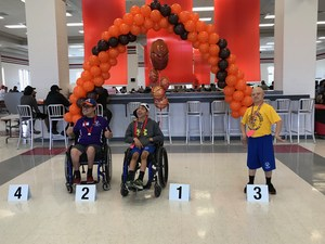 Carlos Gutierrez from MHS in 1st place and Adrian Rodriguez from MHS with 3rd place finish at the Special Olympics Basketball Competition at Sharyland Pioneer High School.