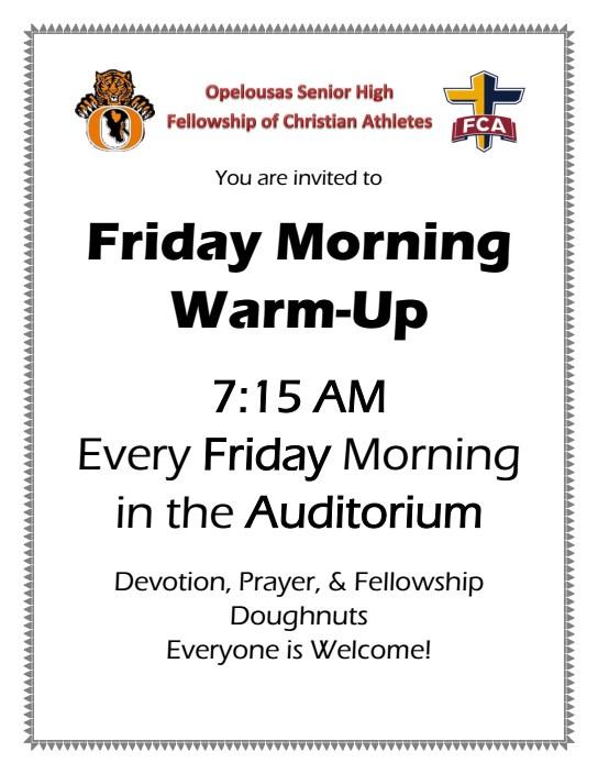 FCA Friday Morning Warm-Up