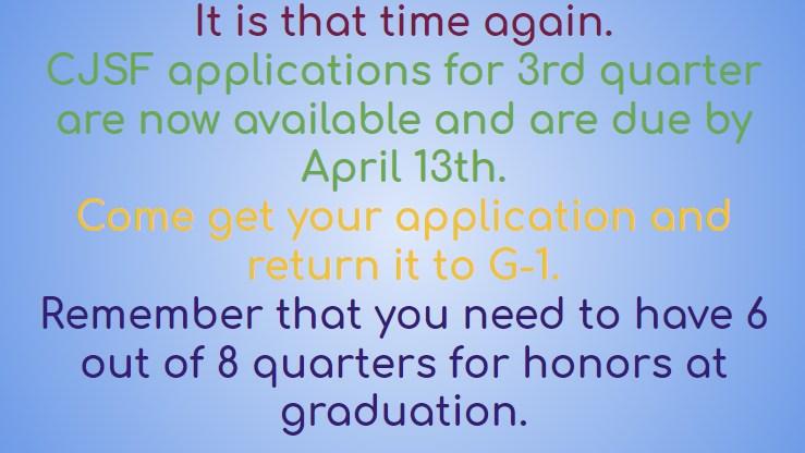 CJSF Applications