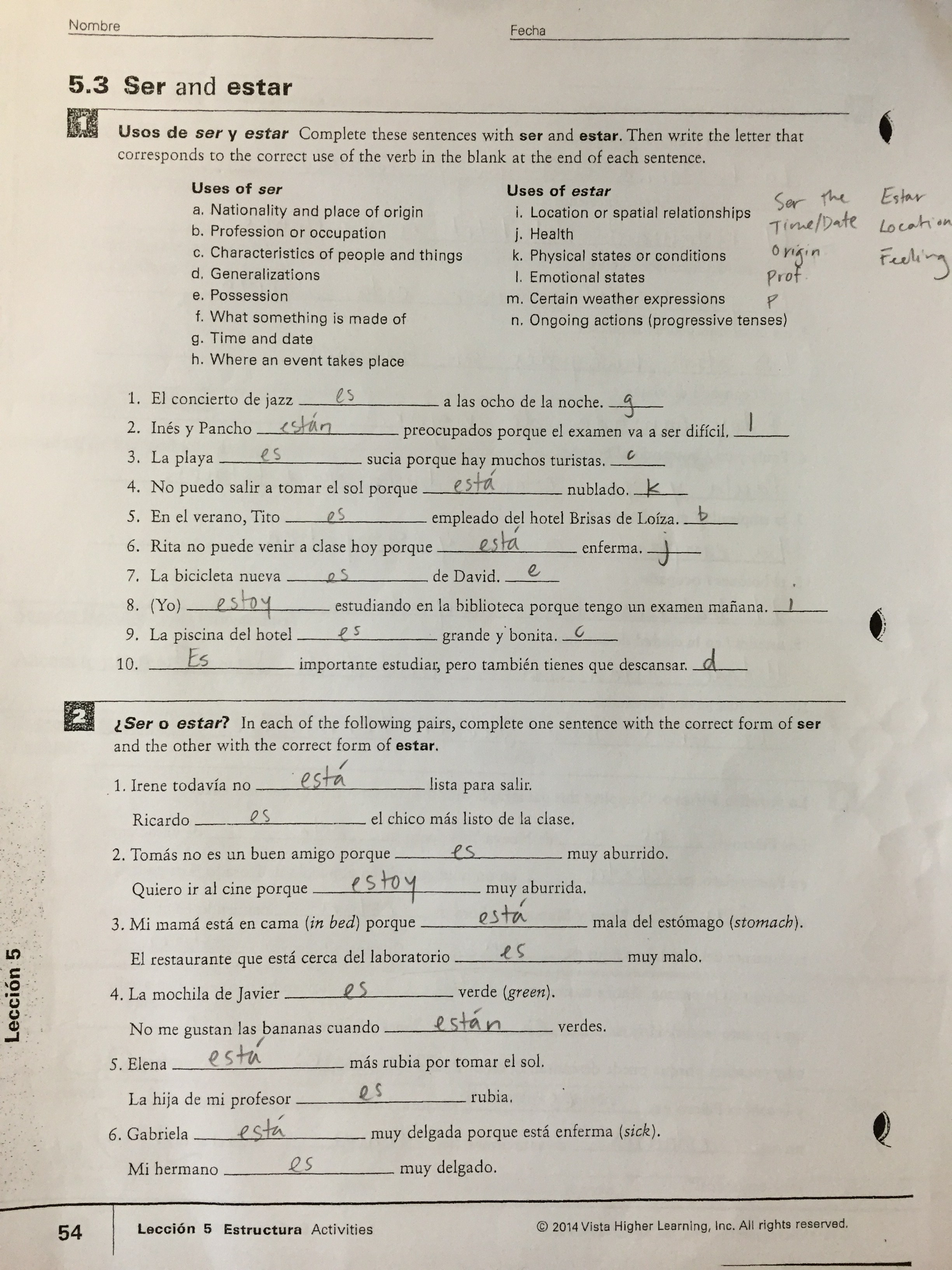 worksheet Acabar De Worksheet thurgood marshall middle school ser vs estar worksheet answers